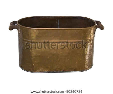 Antique Copper  wash Tub with Clipping Path - stock photo