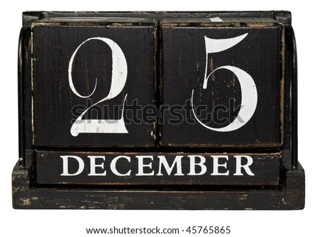 Antique Cube Calendar showing December 25 isolated on a white background - stock photo
