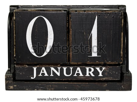Antique Cube Calendar showing January 1 - New Year's day isolated on a white background - stock photo