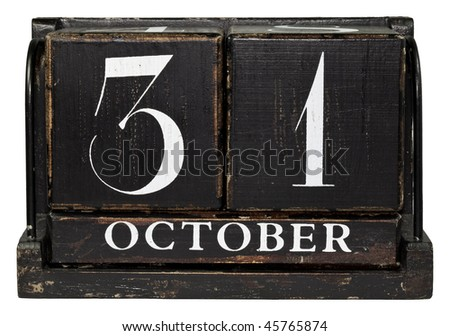 Antique Cube Calendar showing October 31 isolated on a white background - stock photo