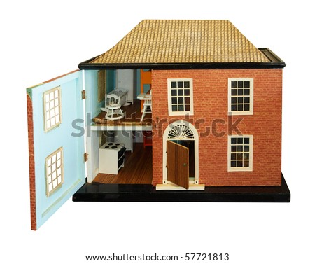 Antique Dolls House with open front isolated with clipping path - stock photo