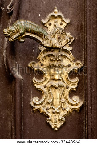 Antique Door Handles Historic Building In Prague