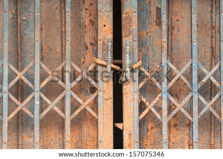 antique door-knocker on old door - stock photo