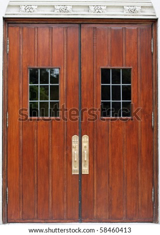 Antique Double Doors with windows and handles - stock photo