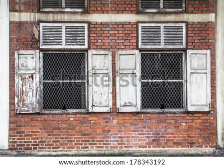 Antique double windows - stock photo