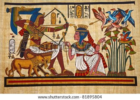 Antique egyptian papyrus and hieroglyph - stock photo