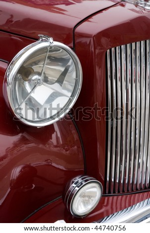antique elegance red car front - stock photo