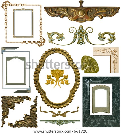 Antique elements #4. Fifteen designs -- All with work paths. Some grunge intact. - stock photo