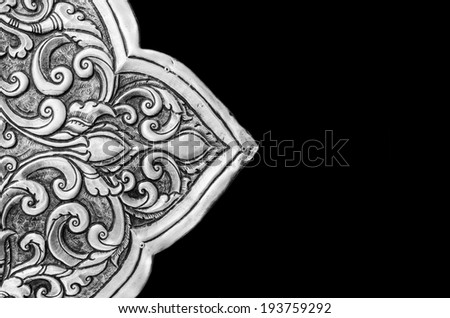 Antique engraved silver, may be used as decoration thailand for  - stock photo