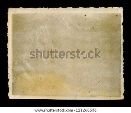 Antique faded blank grunge photo with jagged white border background texture. - stock photo