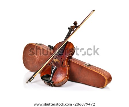 antique fiddle-case and violin on a white background - stock photo
