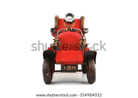 Antique Fire truck model on white background