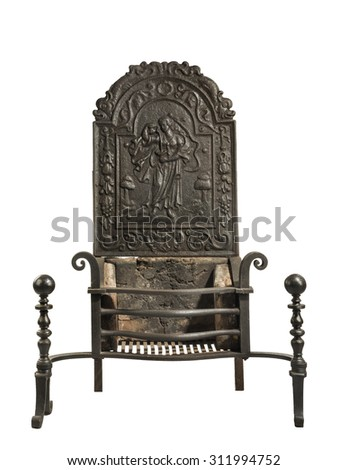 Antique fireplace grate with large tall back plate with decoration on the back plate large inglenook open fireplaces isolated on white - stock photo