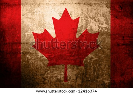 antique flag of canada - stock photo