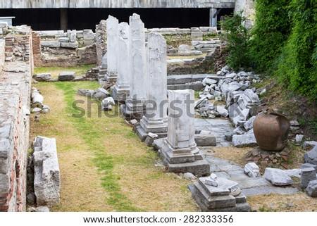 Antique Forum with Odeon in Plovdiv, Bulgaria - stock photo