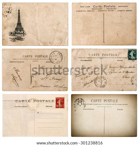 Antique french postcard  with stamp from Paris. Used paper background. Scrapbook elements - stock photo