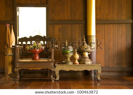 Antique furniture. The northern part of Thailand - stock photo