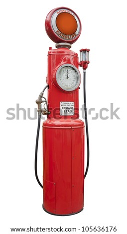 antique gas pump in red, isolated - stock photo