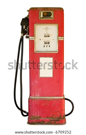 Antique gas pump with white sticker isolated on white - stock photo