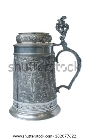 Antique German pewter beer stein with engraving