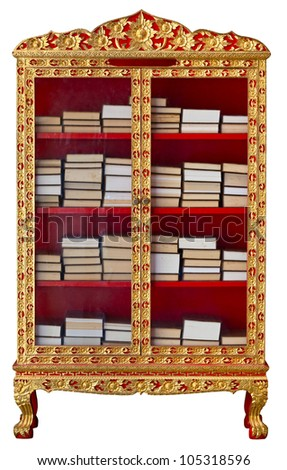 Antique gilded cabinet with Buddhist Meditation Books isolated on white - stock photo