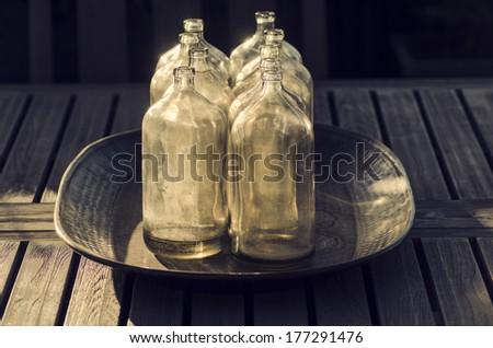 Antique glass bottles retro stylish design motif - stock photo