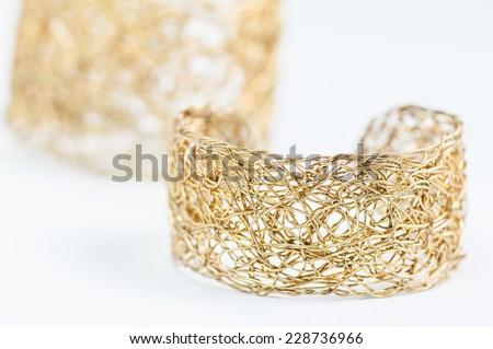 antique gold bracelet on white - stock photo