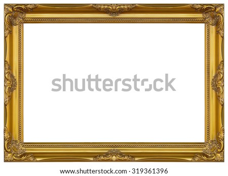 Antique gold frame isolated decorative carved wood stand, Antique gold frame isolated on white background - stock photo