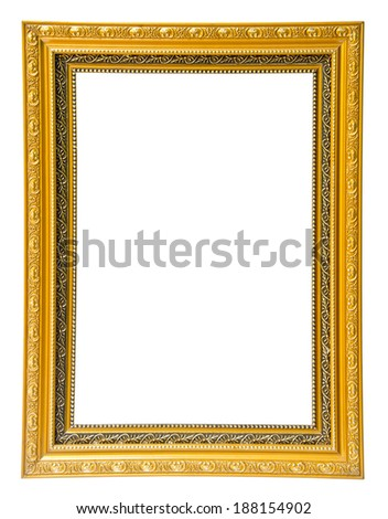 antique gold frame isolated on white background, clipping path - stock photo