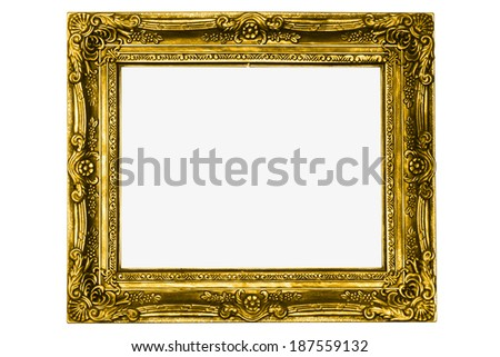 antique gold frame isolated on white background with clipping path - stock photo