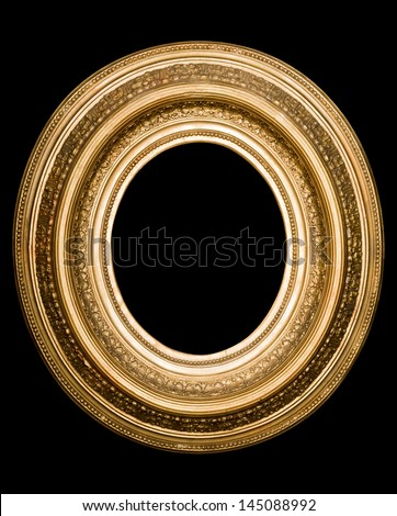 antique gold frame on the black background - stock photo