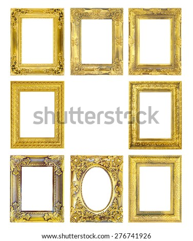 antique gold frame on the white background