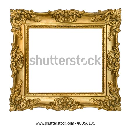 Antique Gold Frame on White Background - stock photo