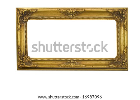 Antique Gold Frame with clipping path - stock photo