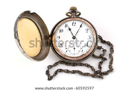 Antique gold pocket watch of the nineteenth century isolated on a white background - stock photo