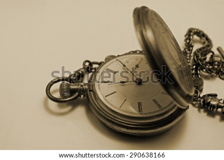 Antique Gold Pocket Watch with Knights Head Chain - Sepia Toned