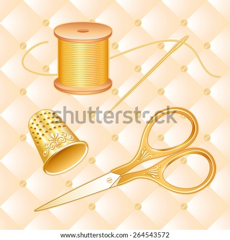 Antique Gold Sewing Set, light cream quilted background, engraved, embossed embroidery scissors, thimble, needle, spool of golden thread for needlecraft, sewing, tailoring, quilting and textile arts.  - stock photo