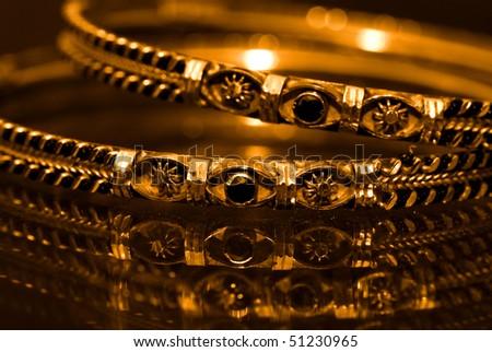Antique golden bangles - stock photo