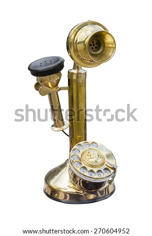 Antique golden brass telephone isolated on white background - stock photo