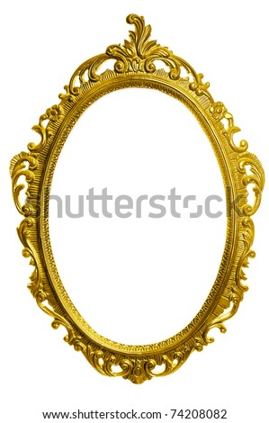 antique golden carved frame isolated on white background