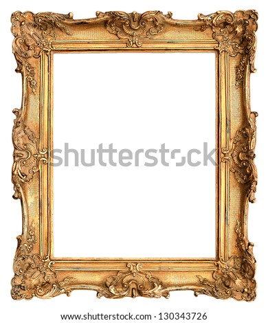 antique golden frame isolated on white background - stock photo