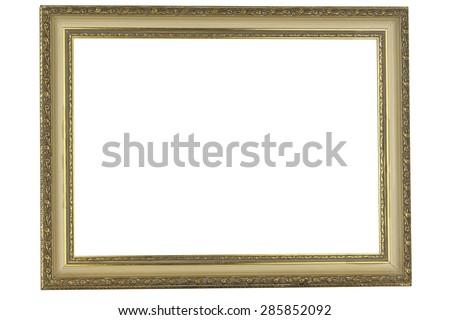 antique golden frame isolated on white background - stock photo