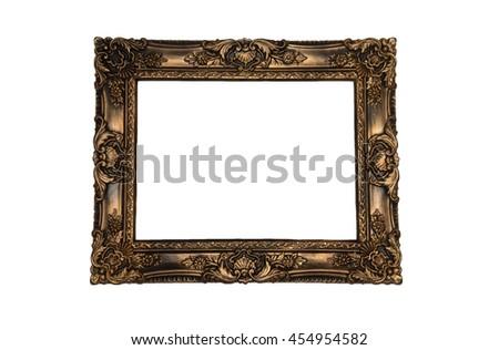 Antique golden frame isolated on white background. - stock photo