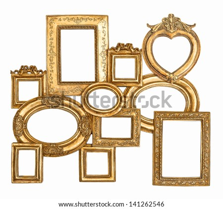 antique golden framework isolated on white background. empty baroque frame for photo and picture - stock photo