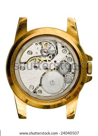 Antique golden wristwatch mechanism on white background - stock photo