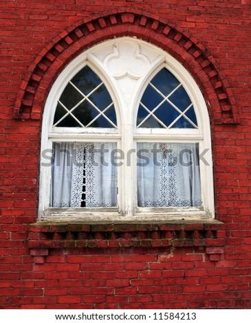 Antique gothic window - stock photo