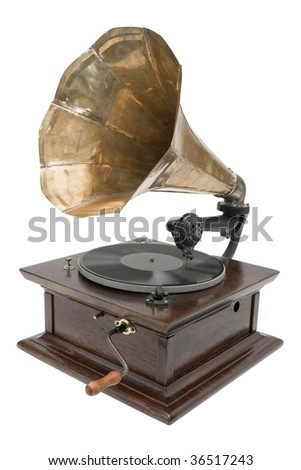 Antique gramophone isolated on a white background - stock photo