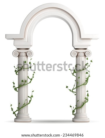 Antique Greek Arc Covered With Willow - stock photo
