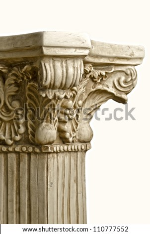 Antique Greek Column, on a white background - stock photo