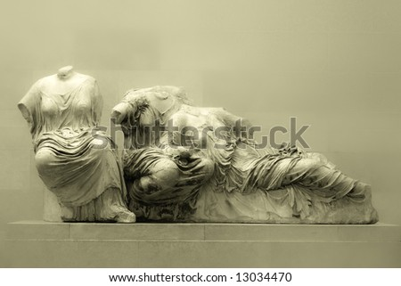 Antique greek sculpture. With copyspace for custom text. - stock photo